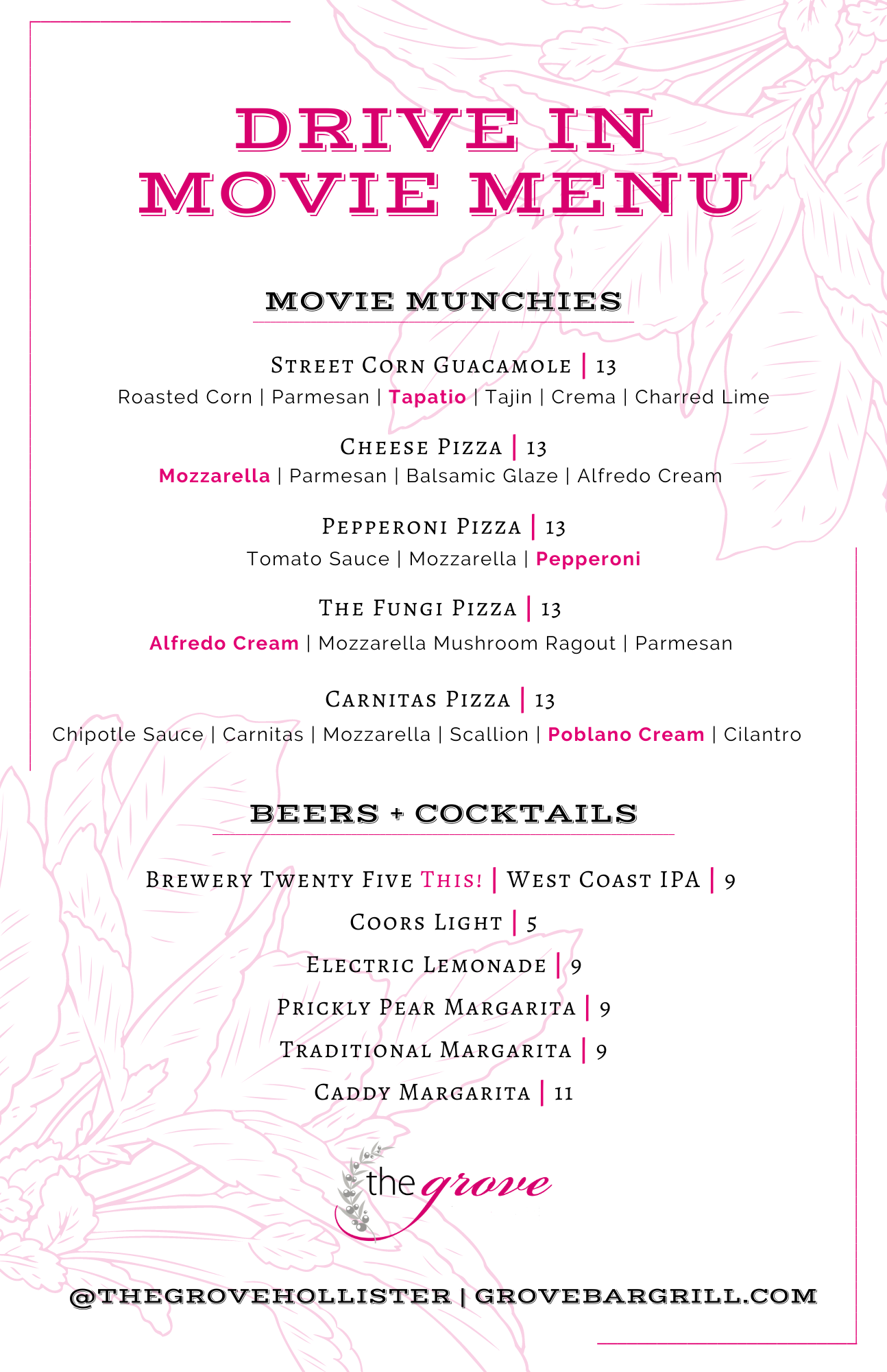 Drive In Movie Menu