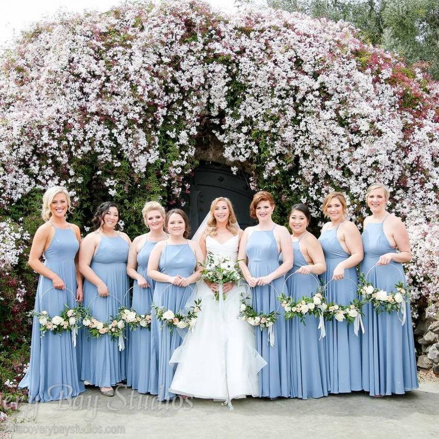 Pink Flowers and Blue Bridesmaids