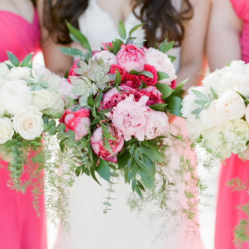 Bouquets with Pink Bridesmaids