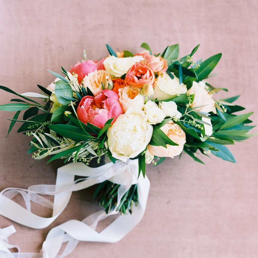 Pink and White Bouquet with Ribbon