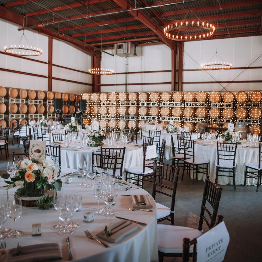 Round Table Setting in Barrel Room
