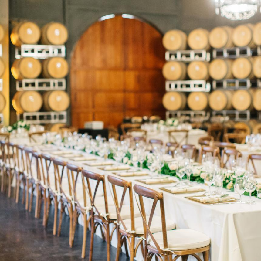 Long Table Setting in the Barrel Room