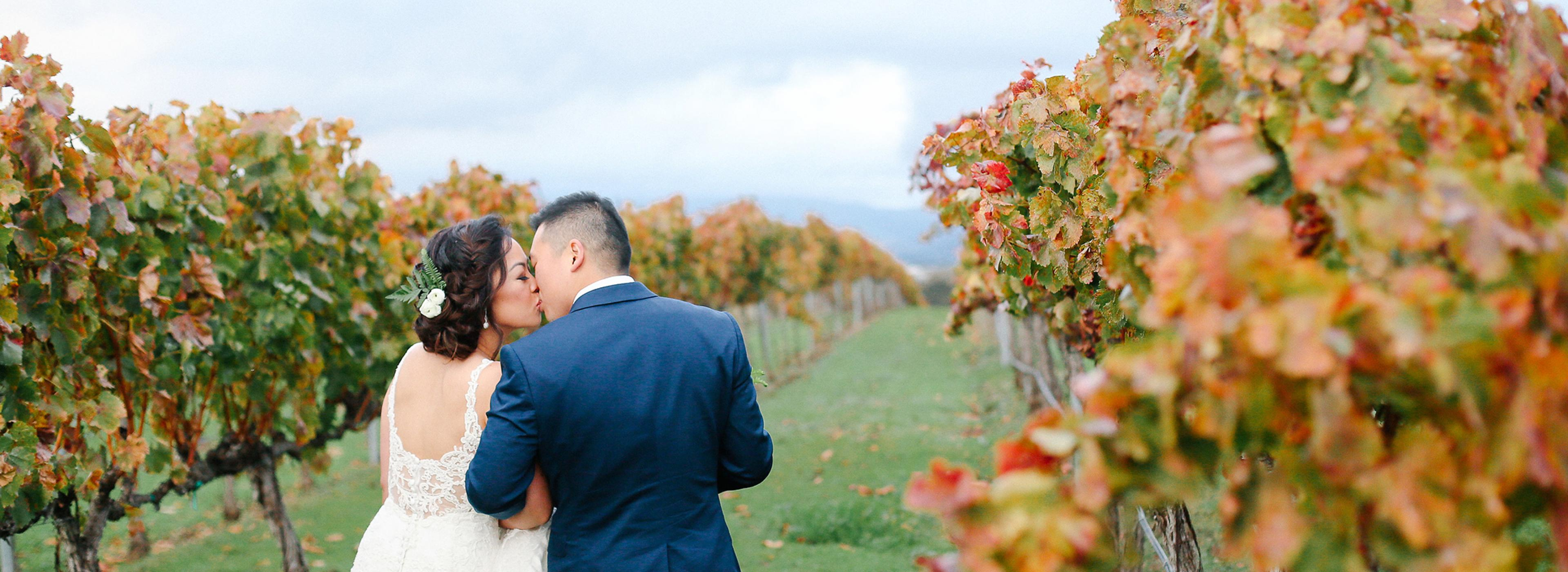 Bride and groom kissing in vineyard