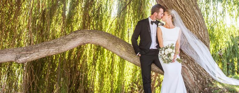 Armstrong couple in front of a large willow tree