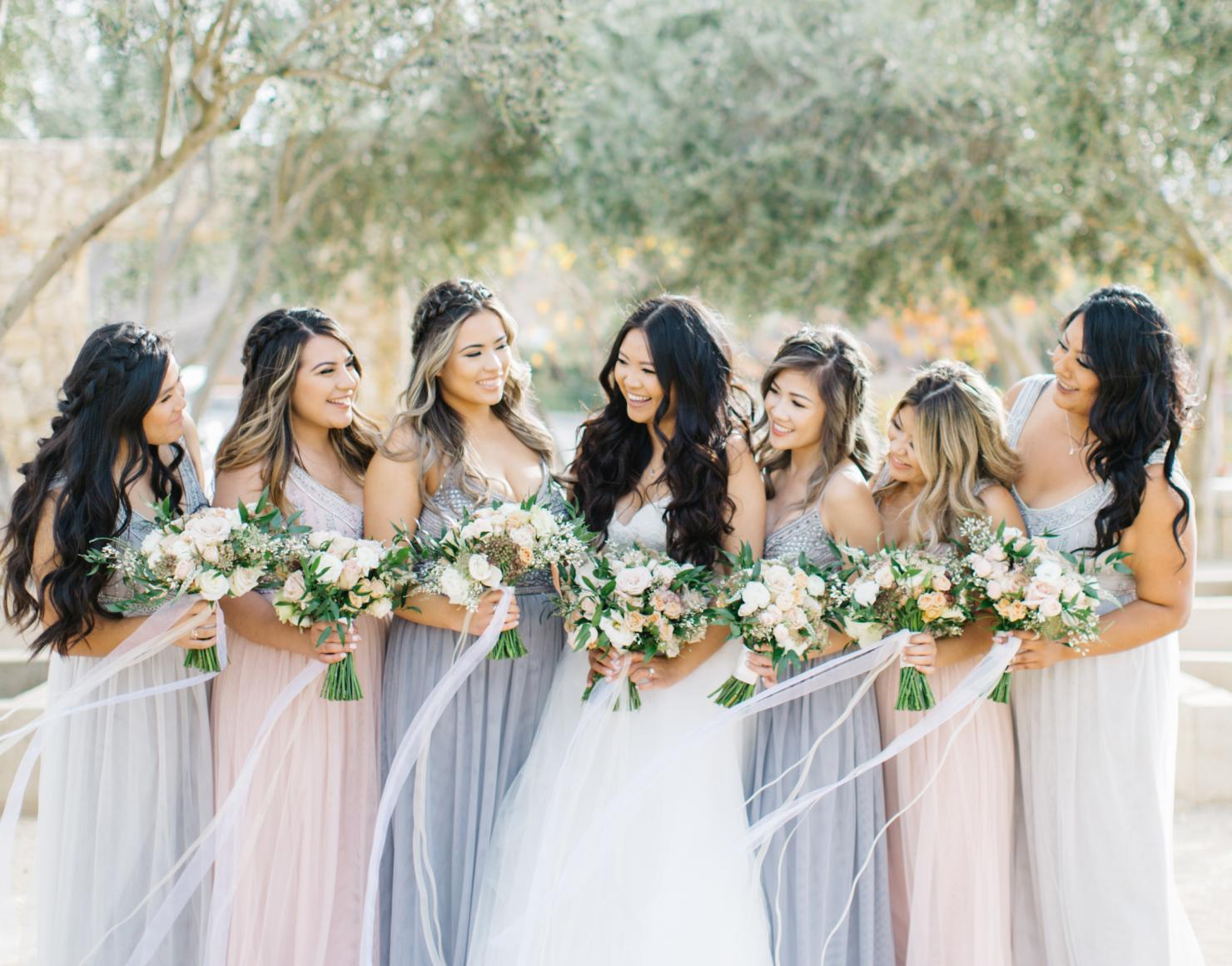 Pink and Blue Bridesmaids